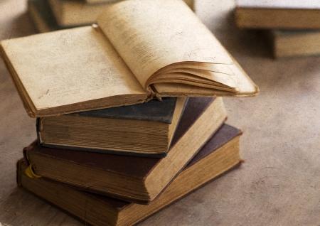 Pile of old books - vintage photo Foto de archivo