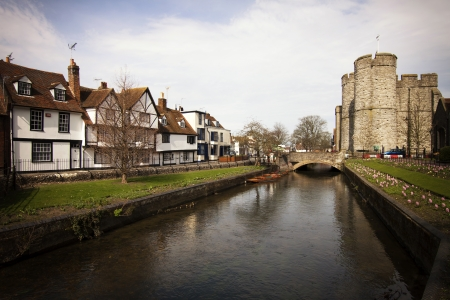 kent: Riverside scenery on the River Stour at Canterbury Kent England UK Stock Photo