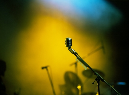 Microphone in stage lights photo