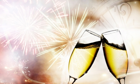 background with champagne glasses and clock photo