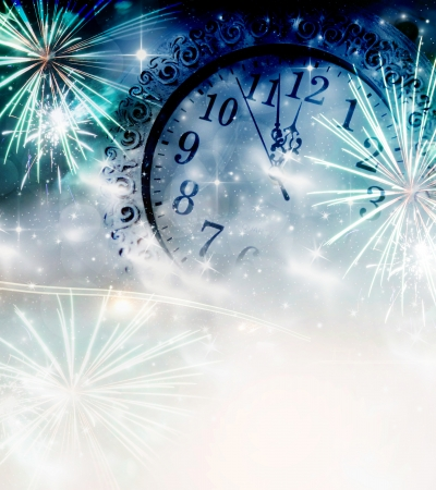 new year eve beads: Clock and fireworks at midnight