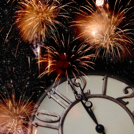 twelve month old: New Year s at midnight - old vintage clock Stock Photo