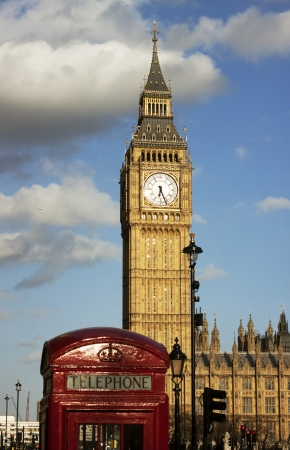 telephone box: Big Ben and red phone booth Stock Photo
