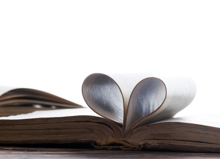 Heart shaped book pages photo