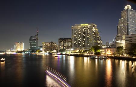 phraya: Chao Phraya River night scene in Bangkok, Thailand Stock Photo