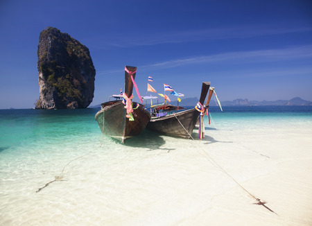 Thailand beach on tropical island  Beautiful travel background of Asia coast  photo
