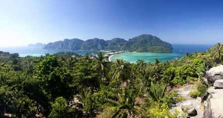 Travel vacation background - Tropical island with resorts - Phi-Phi island, Krabi Province, Thailand photo