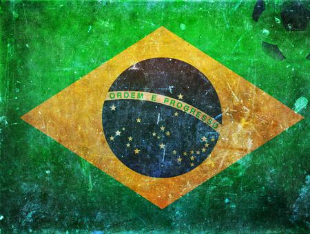 Vintage photo of Brazil flag and soccer ball