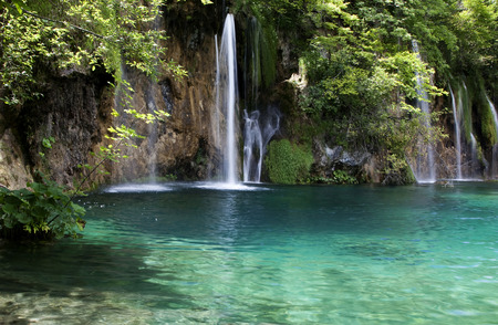 plitvice: Summer view of beautiful small waterfalls in Plitvice Lakes National Park, Croatia