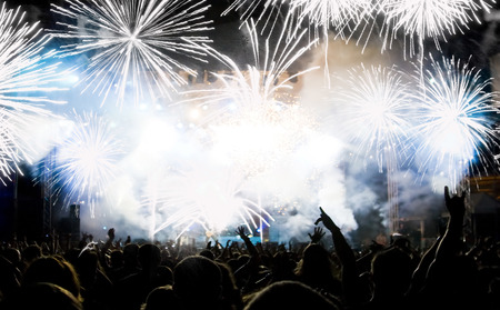 company party: New Year concept - cheering crowd and fireworks
