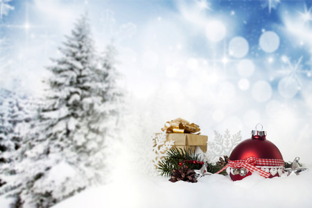 Christmas decorations and gift box photo