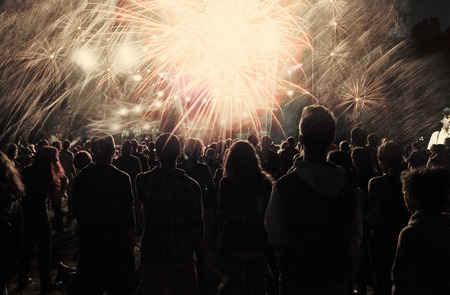 fireworks: New Year concept - cheering crowd and fireworks