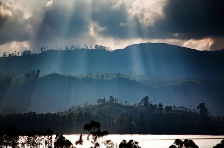 pada: Panorama of the tea plantations and lake at sunset, Maskeliya, Sri Lanka Stock Photo