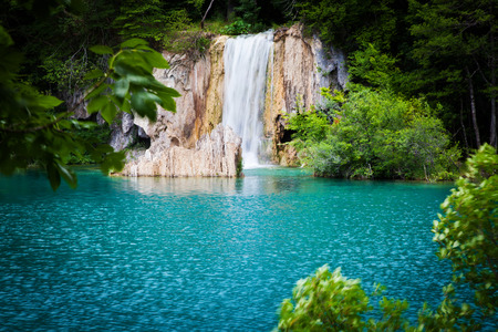 Summer view of beautiful waterfalls in Plitvice Lakes National Park, Croatia photo