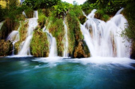 plitvice: Summer view of beautiful waterfalls in Plitvice Lakes National Park, Croatia