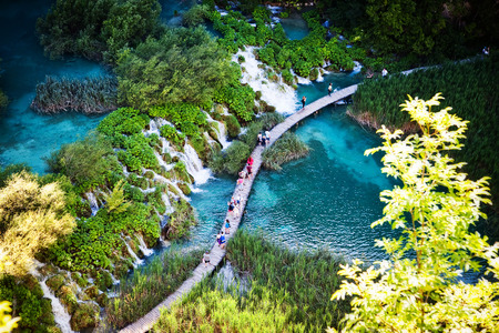 Summer view of beautiful waterfalls in Plitvice Lakes National Park, Croatia