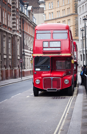 british weather: old red London bus Stock Photo