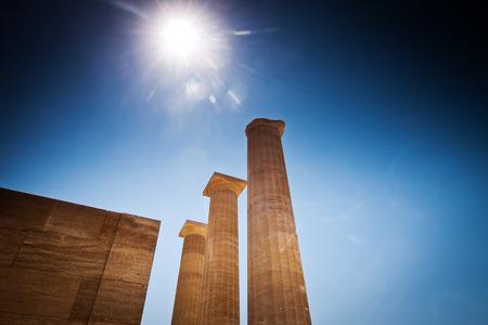 rhodes: Lindos acropolis located in Rhodes Island Greece Stock Photo