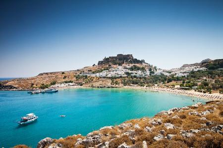 Lindos bay, Rhodes island, Greece Foto de archivo