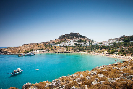 Lindos bay, Rhodes island, Greece Banque d'images