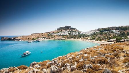 rhodes: Lindos bay, Rhodes island, Greece Stock Photo
