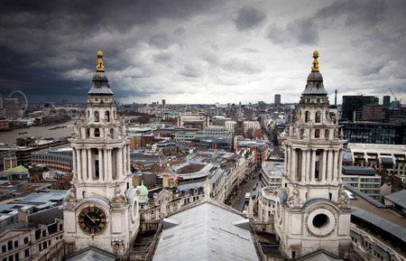 st paul s cathedral: London view from St. Paul cathedral Stock Photo