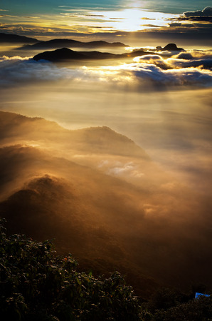 pada: Amazing sunrise seen from Sri Pada Stock Photo