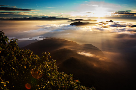 pada: Amazing sunrise seen from Sri Pada Stock Photo
