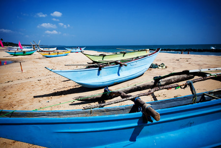 srilanka: tropical beach with fishing boats in Sri-Lanka Editorial