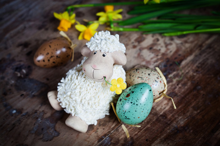 pasen schaap: Easter decoration with cute lamb and eggs