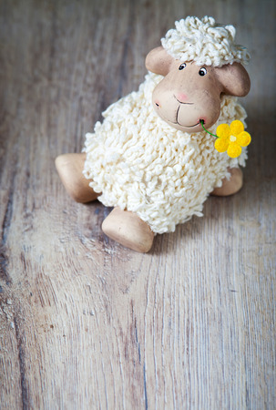 Easter decoration with cute lamb and eggs photo