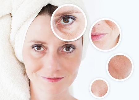 아름다움 개념 - 피부 관리, 노화 방지 절차, 회춘, 리프팅, 얼굴 피부 강화 스톡 콘텐츠