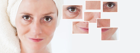 Beauty concept - skin care, anti-aging procedures, rejuvenation, lifting, tightening of facial skin photo