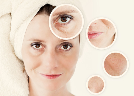 halves: Beauty concept - skin care, anti-aging procedures, rejuvenation, lifting, tightening of facial skin