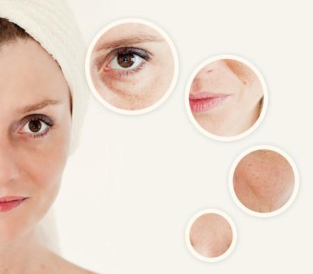 Concepto de la belleza - cuidado de la piel, procedimientos anti-envejecimiento, rejuvenecimiento, levantar, apretar la piel facial Foto de archivo