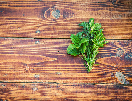 herbary: Herbs on wooden table. Seasoning concept