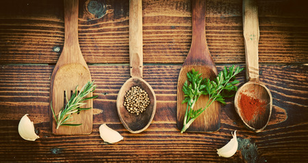 dill seed: Spices and herbs on wooden table. Top view