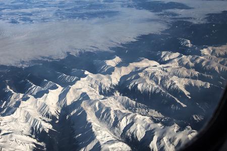 highest: Aerial view of Fagaras mountains with Moldoveanu peak