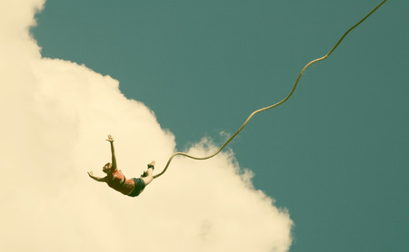 jump rope: Bungee jumping - retro style photo Stock Photo