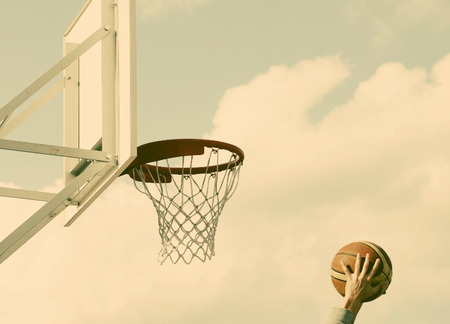 swish: Basketball hoop - retro style photo Stock Photo