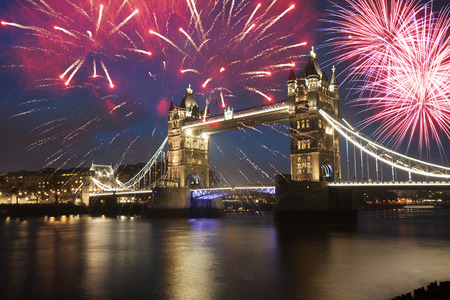 Tower bridge with firework, celebration of the New Year in London, UK Reklamní fotografie - 46931764