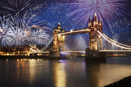 kingdom: Tower bridge with firework, celebration of the New Year in London, UK Stock Photo