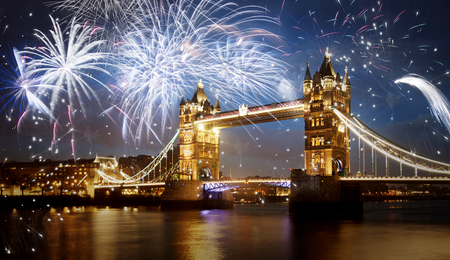 london tower bridge: Tower bridge with firework, celebration of the New Year in London, UK Stock Photo