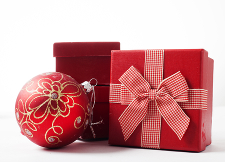 gift boxes: Red Christmas balls and gift boxes