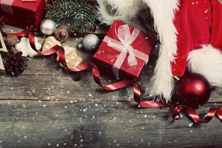 christmas decorations: Christmas decorations on rustic wooden background