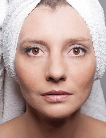 pores: Beauty concept - skin care, anti-aging procedures, rejuvenation, lifting, tightening of facial skin
