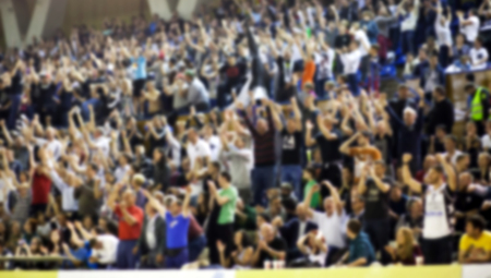 huge: Blurred background of crowd of people in a basketball court
