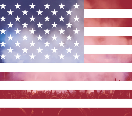 sparkled: Celebrating Independence Day. United States of America USA flag with fireworks background for 4th of July
