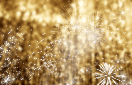 Abstract holiday background - fireworks at New Year and copy space Stock Photo