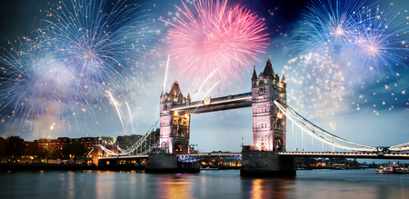 fireworks over the River Thames in London - celebrating New Year in the city